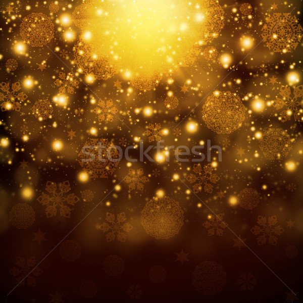 Snowflakes on abstract gold background Stock photo © cherezoff