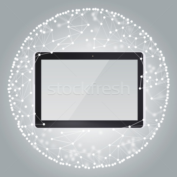 Tablet PC and sphere consisting of connections Stock photo © cherezoff