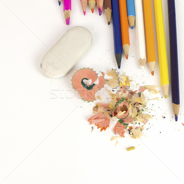 Color pencils, shavings and eraser Stock photo © cherezoff