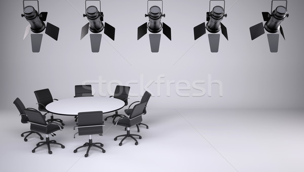 Round table and eight office chairs Stock photo © cherezoff