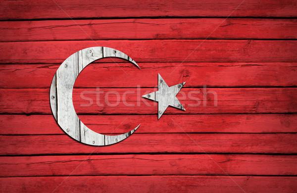Turco bandeira pintado grunge estilo Foto stock © cherezoff