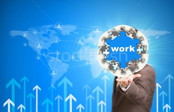 Foto stock: Hombre · de · negocios · mantener · rompecabezas · esfera · trabajo · etiqueta
