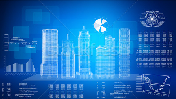 Glowing wire-frame buildings on transparent plane Stock photo © cherezoff
