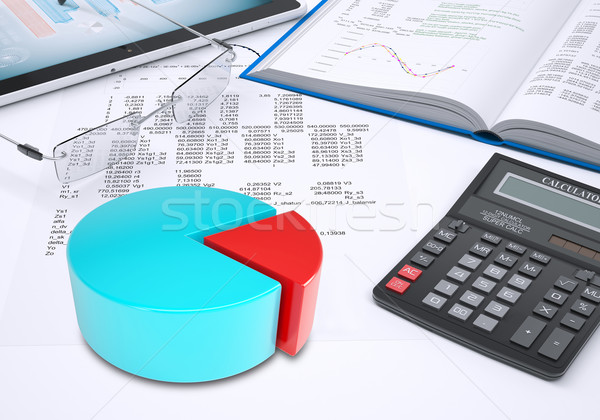 Pie chart, tablet pc, book, calculator, glasses, paper with columns of figures Stock photo © cherezoff