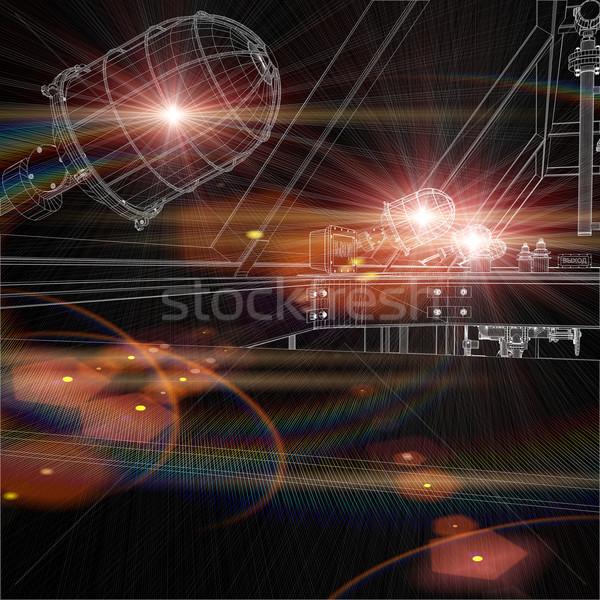 Drótváz rajz ipari vágány ragyogó fekete Stock fotó © cherezoff
