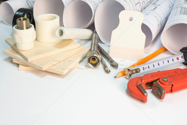 Drawing rolls, construction hardware tools, appliances and materials composition Stock photo © cherezoff