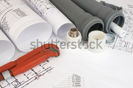 Drawing rolls, plumbing hardware tools, appliances and materials composition Stock photo © cherezoff