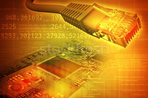 Kabel komputerowy streszczenie kolorowy numery komputera technologii Zdjęcia stock © cherezoff