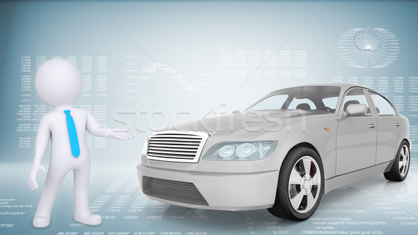 Puppet with white car Stock photo © cherezoff