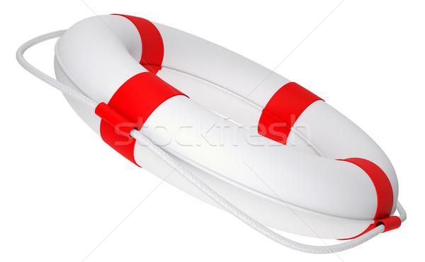 Cankurtaran simidi halat yalıtılmış beyaz yandan görünüş Stok fotoğraf © cherezoff