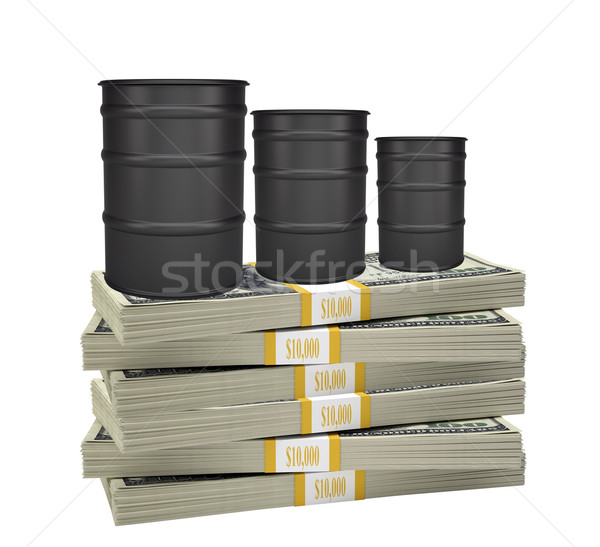 Oil barrels on stack of money Stock photo © cherezoff