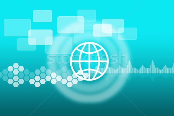 Globe icon with circles Stock photo © cherezoff