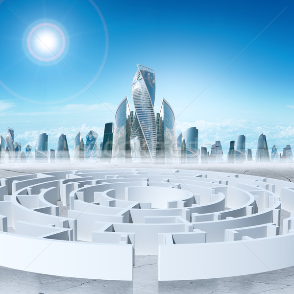 Business cityscape with labyrinth and sun Stock photo © cherezoff