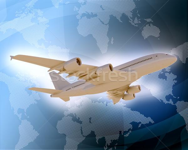 Jet with world map on blue background Stock photo © cherezoff