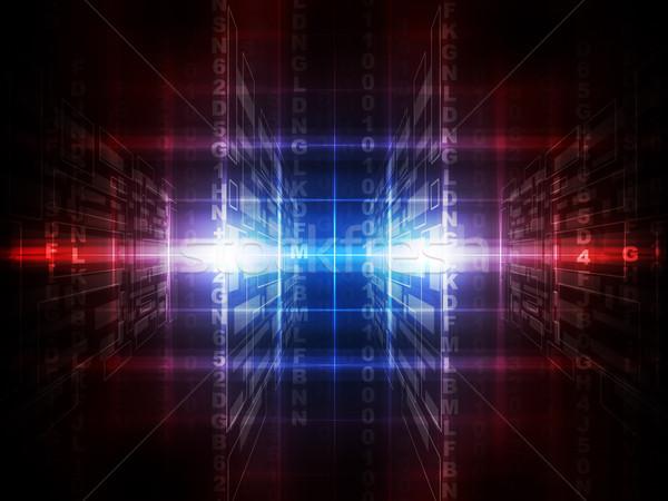 Ikili kırmızı mavi bilgisayar kod matris Stok fotoğraf © cherezoff