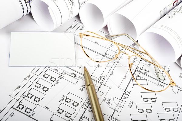Carte vierge stylo plan verres vue de côté bâtiments Photo stock © cherezoff