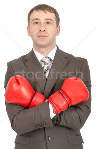 бизнесмен боксерские перчатки оружия красный изолированный белый Сток-фото © cherezoff