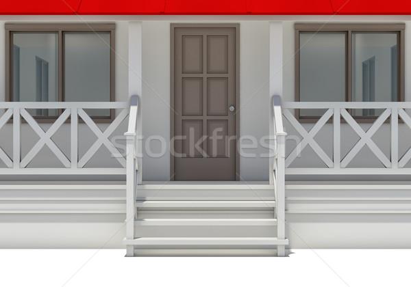 Közelkép ház veranda ajtó ablakok elöl Stock fotó © cherezoff