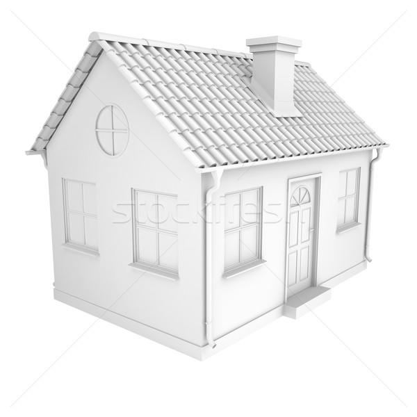 Peu maison blanche isolé blanche affaires Photo stock © cherezoff