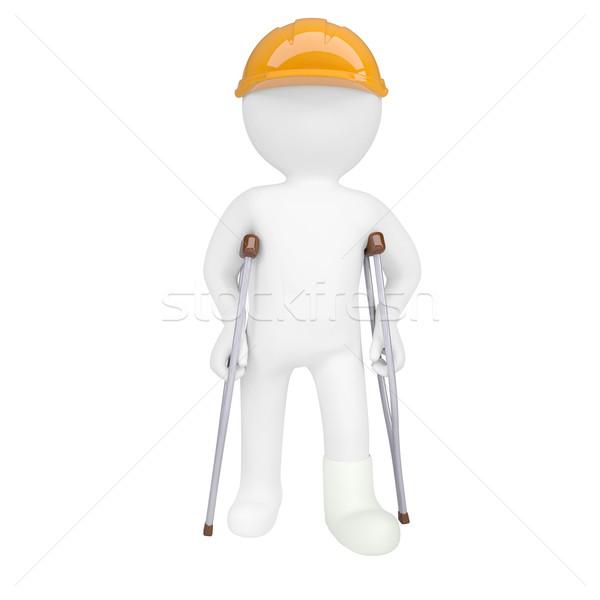 3D homem branco capacete muletas isolado Foto stock © cherezoff