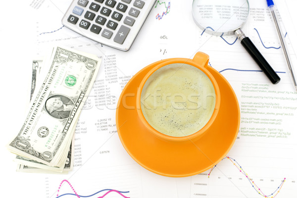 Cup of coffee, business objects and papers Stock photo © cherezoff