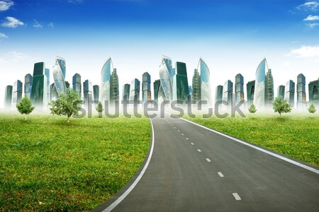 Road leading to business center Stock photo © cherezoff
