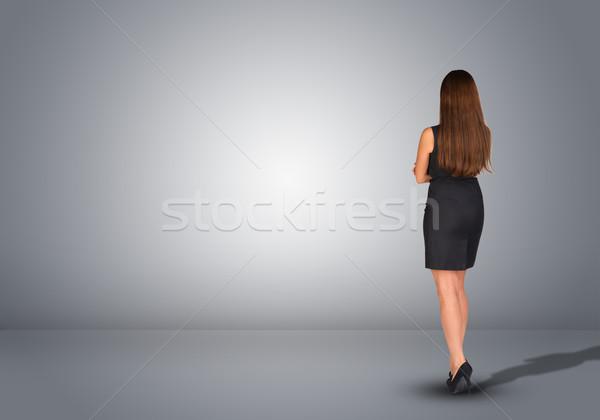 деловая женщина Постоянный пусто серый комнату вид сзади Сток-фото © cherezoff