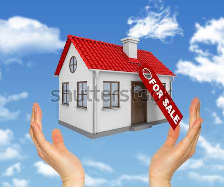 Casa blanca mano rojo techo chimenea sol Foto stock © cherezoff