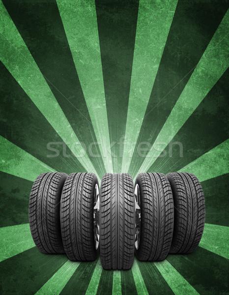 Klin koła zielone konkretnych Zdjęcia stock © cherezoff