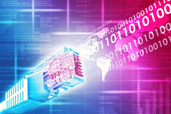 Kolorowy kabel komputerowy streszczenie niebieski mapie świata Zdjęcia stock © cherezoff