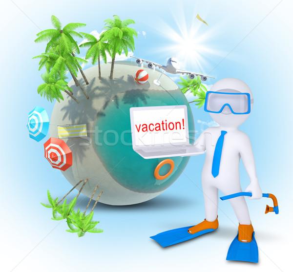 марионеточного ноутбука земле пляж небе компьютер Сток-фото © cherezoff