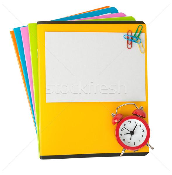 Farbenreich leer Karte Wecker isoliert weiß Stock foto © cherezoff
