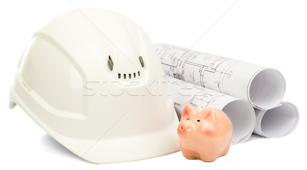 Drawings for building and helmet  Stock photo © cherezoff