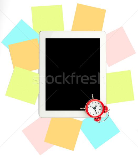 Foto stock: Despertador · establecer · pegatinas · tableta · blanco · negocios
