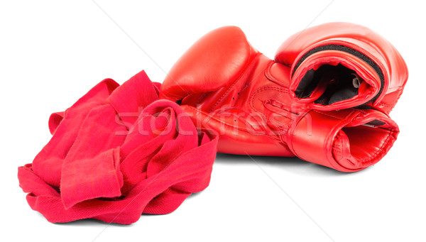 Boxkesztyűk csukló izolált fehér sport piros Stock fotó © cherezoff