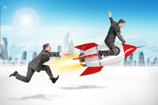 Foto stock: Empresário · voador · longe · foguete · homem · cidade