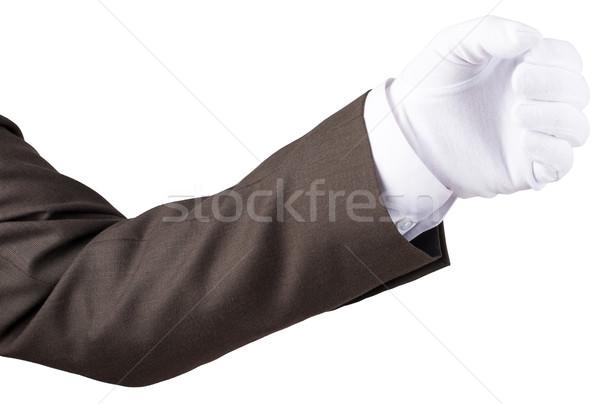 Mano pugno gesto guanto isolato bianco Foto d'archivio © cherezoff