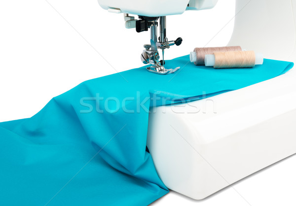 Sewing machine with blue cloth Stock photo © cherezoff