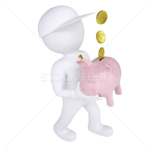 3D biały człowiek banku piggy odizolowany oddać Zdjęcia stock © cherezoff