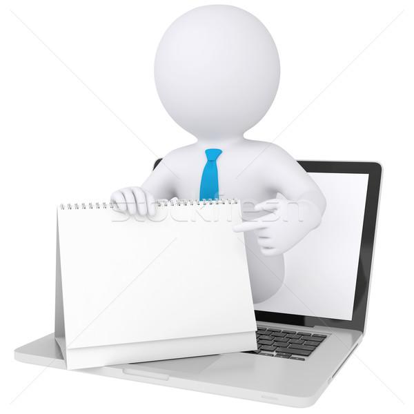 3D biały człowiek komputera kalendarza odizolowany Zdjęcia stock © cherezoff