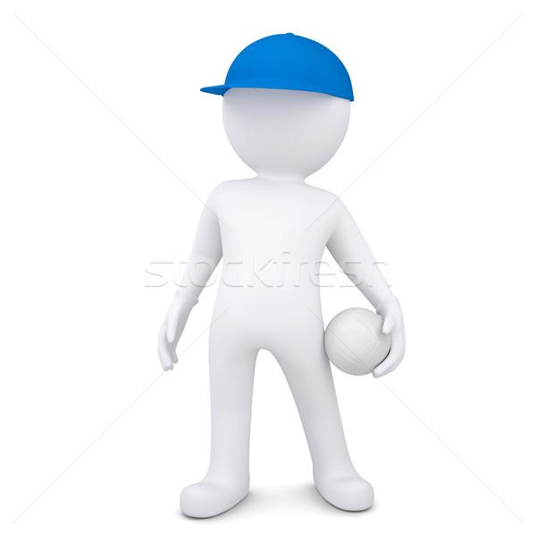 3D beyaz adam voleybol top yalıtılmış vermek Stok fotoğraf © cherezoff