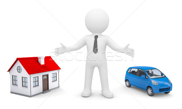 Blanke man handen huis auto geïsoleerd geven Stockfoto © cherezoff