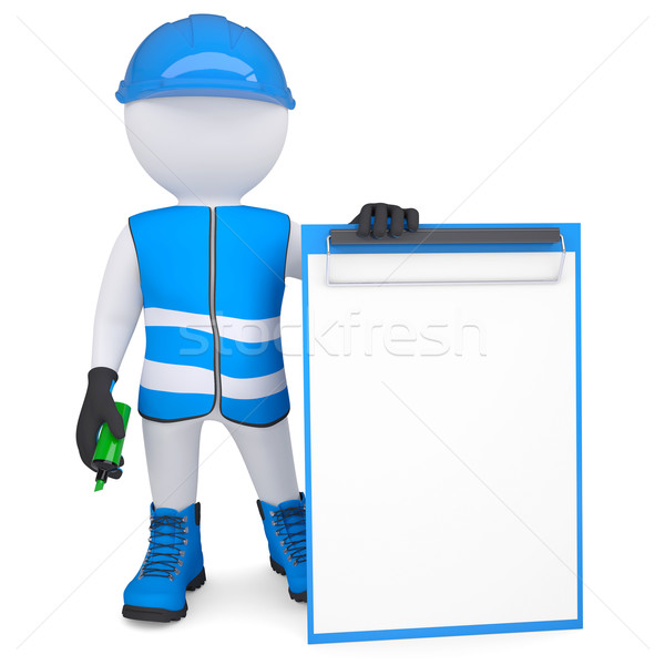 3d man in overalls with a checklist and a marker Stock photo © cherezoff