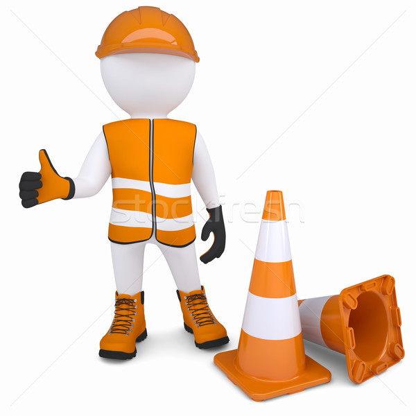 3d man in overalls raised his thumb up Stock photo © cherezoff