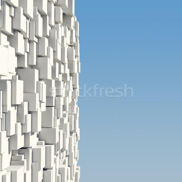 Parede branco blue sky abstrato paisagem Foto stock © cherezoff