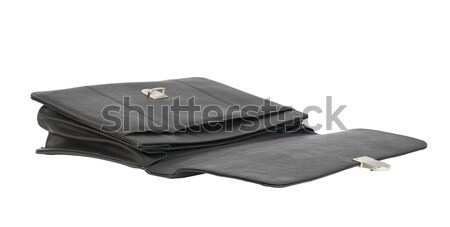 Open black leather briefcase Stock photo © cherezoff