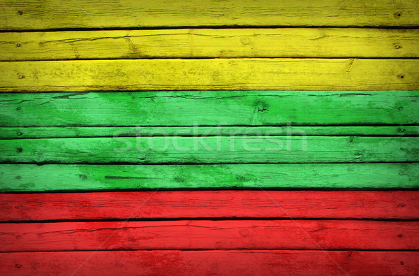 Lithuanian flag painted on wooden boards Stock photo © cherezoff