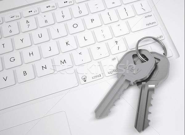 Kettő fém kulcsok billentyűzet felülnézet terv Stock fotó © cherezoff