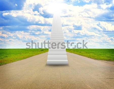 Merdiven gökyüzü yeşil ot yol sağanak soyut Stok fotoğraf © cherezoff