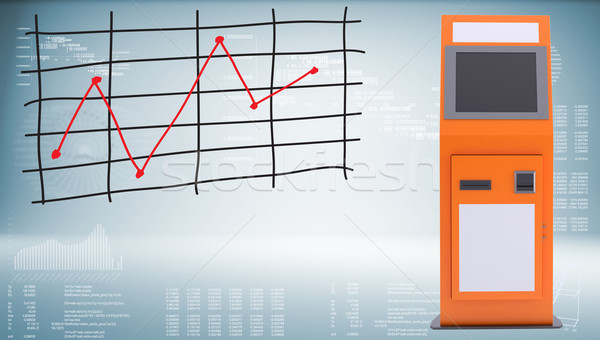Digital touchscreen terminal and graph of price changes Stock photo © cherezoff